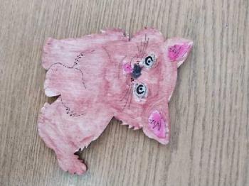 Kocie prace plastyczne wykonane przez uczniów klasy Ia