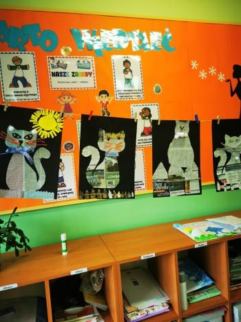 Prace plastyczne ,,Koty z szarej gazety'' wykonane przez uczniów klasy IIa