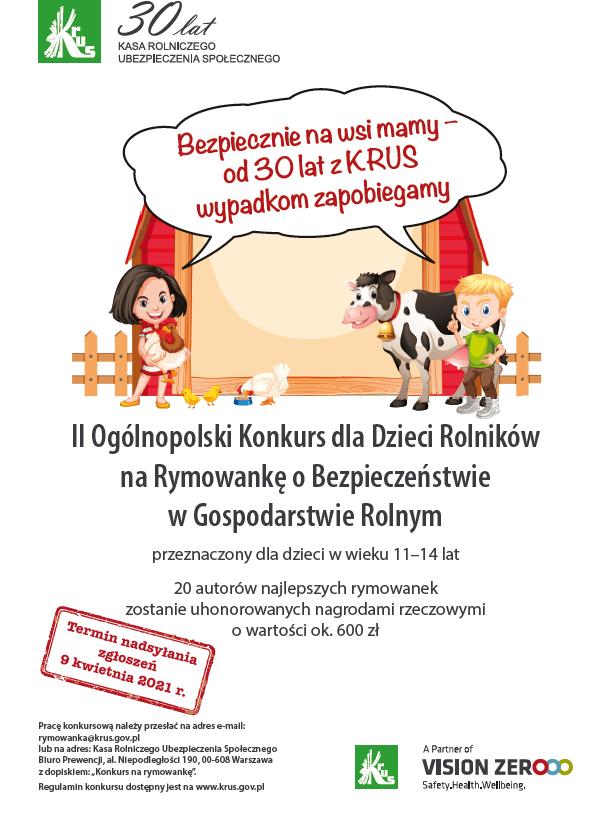 II Ogólnopolski Konkurs dla Dzieci Rolników na Rymowankę o Bezpieczeństwie w